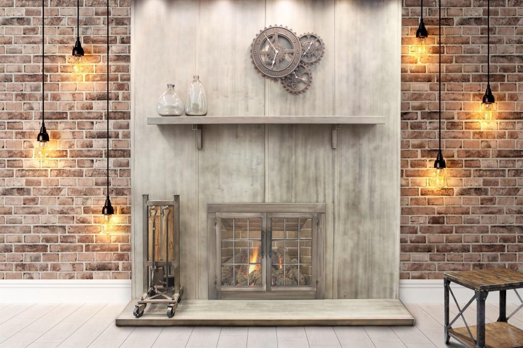 Le mur, l'ensemble d'accessoires pour foyer, les portes et les supports pour tablette de foyer de style industriel de Stoll.