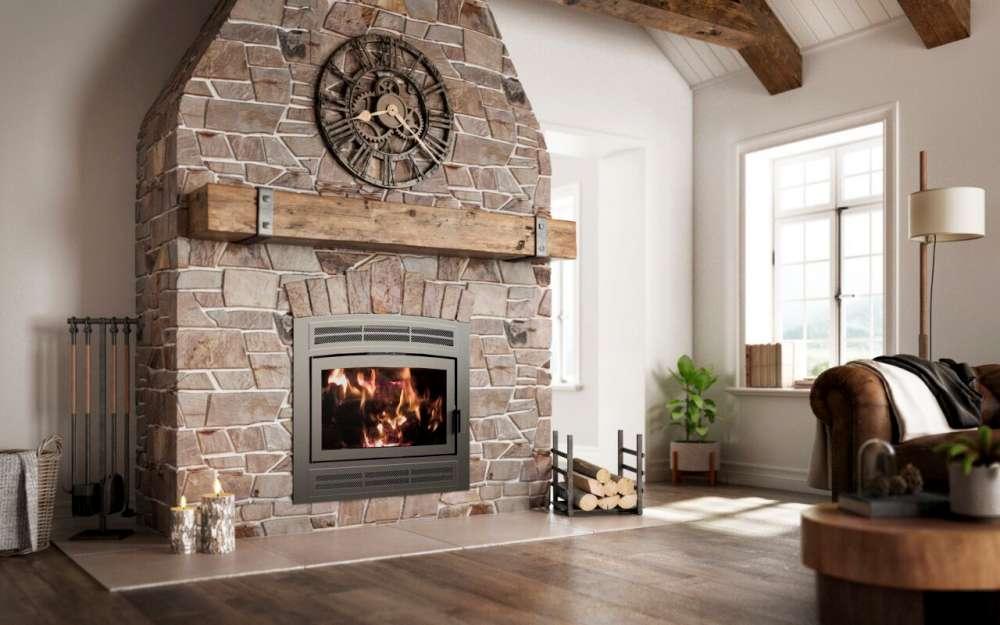 Foyer au bois à façade rustique de marque Ambiance