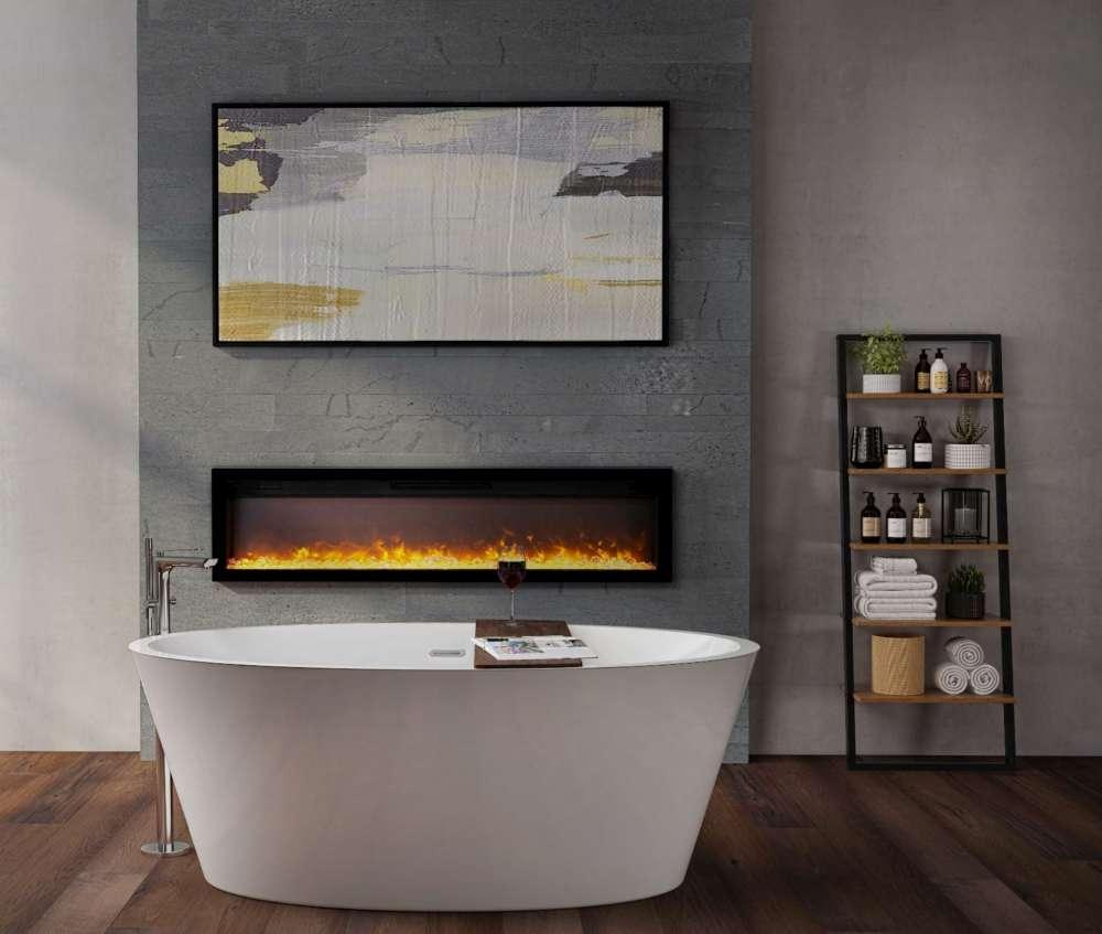 Installation de salle de bain avec foyer électrique Ambiance IW50