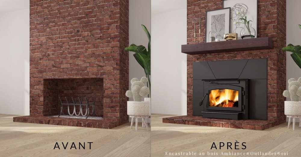 Encastrable au bois Ambiance® Outlander® 19i avec contour tablette de foyer résistante à la chaleur. Les foyers encastrables en valent-ils la peine?