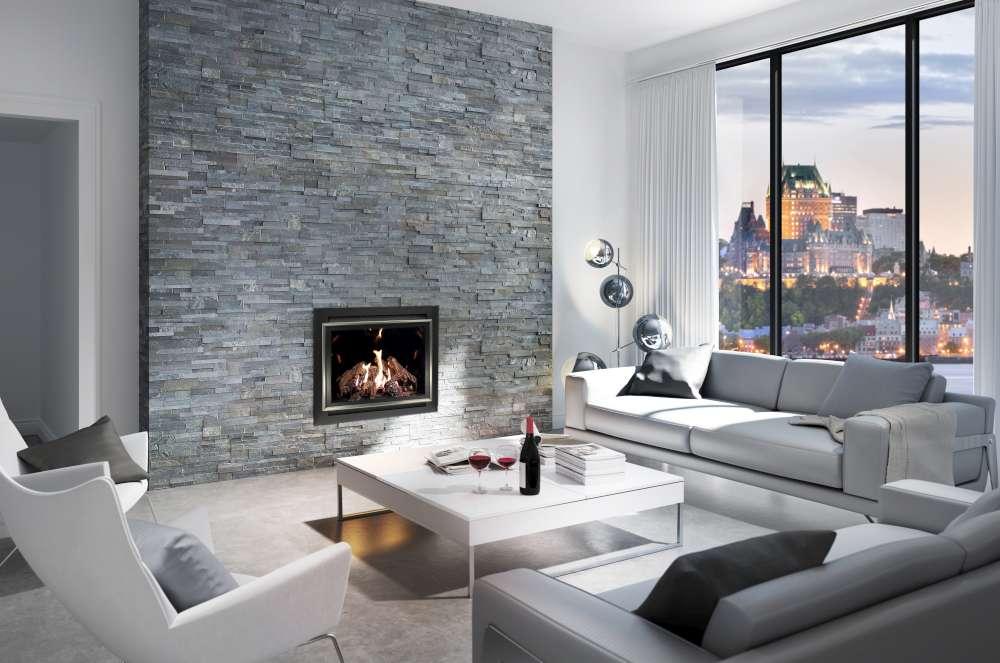 Foyer au gaz Intrigue 42 par Ambiance avec mur de pierres moderne. Comment fonctionne un foyer au gaz?