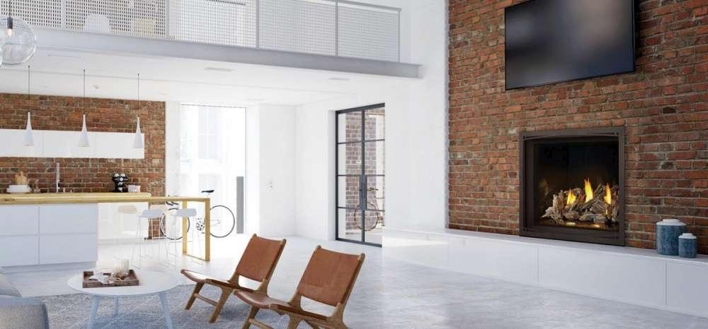 Foyer au gaz Elevation de Napoleon dans un décor moderne avec des briques rouges. Comment fonctionne un foyer au gaz?