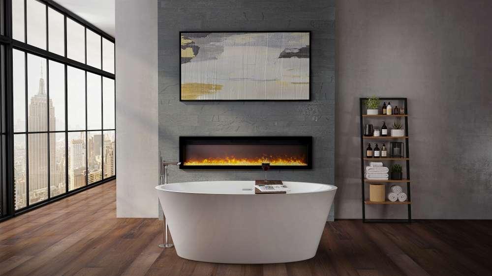 Magnifique foyer électrique linéaire Ambiance IW-50 dans une salle de bain. Les foyers électriques sont-ils coûteux à utiliser?